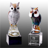 L-55 + L-56  Glass Owls on base